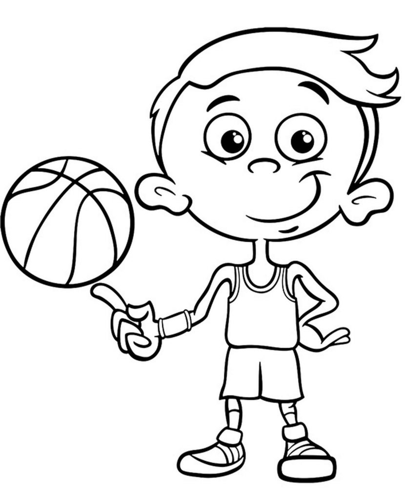 Funny Cartoon Basketball Player Coloring Page