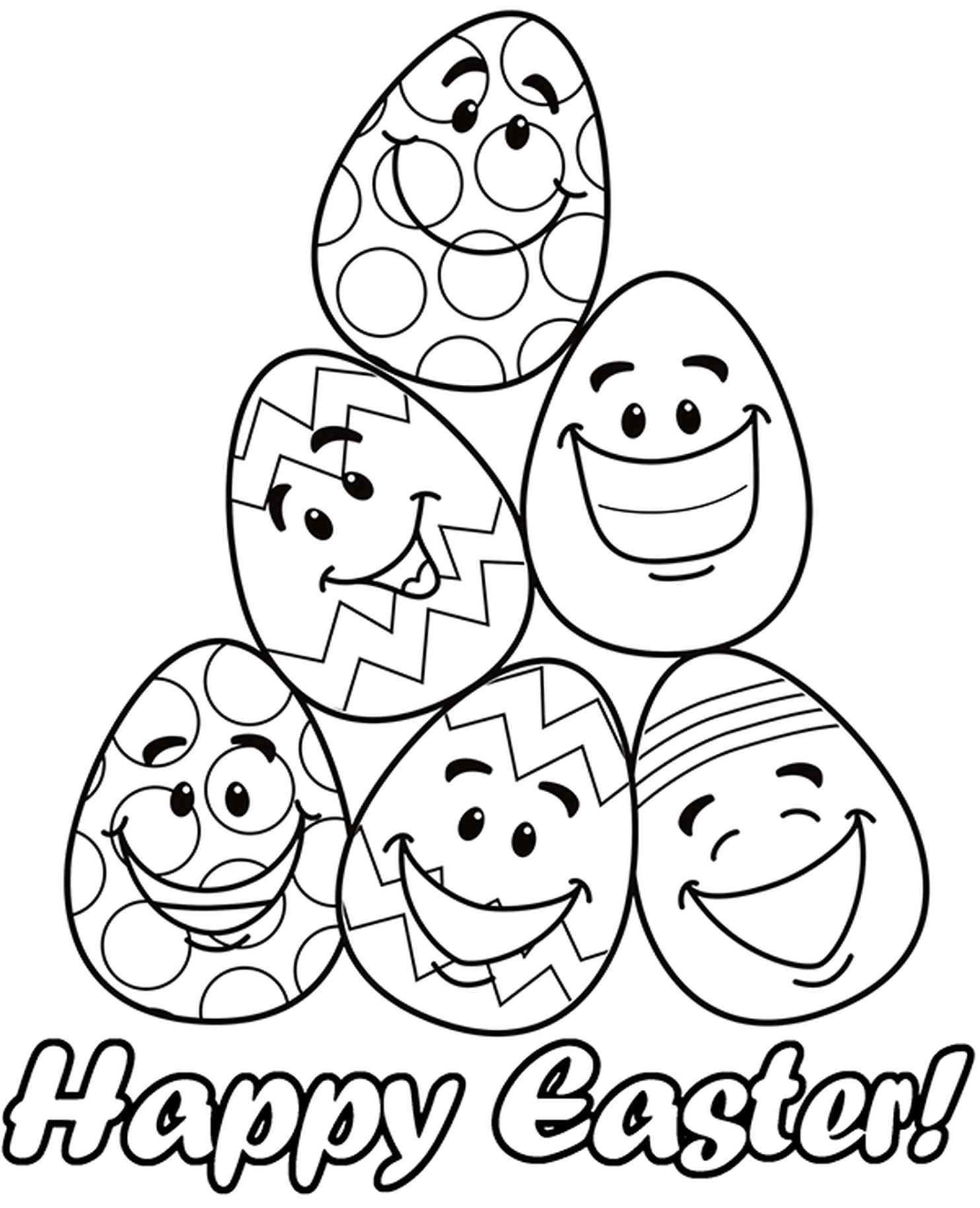 Funny Easter Eggs Coloring Sheet