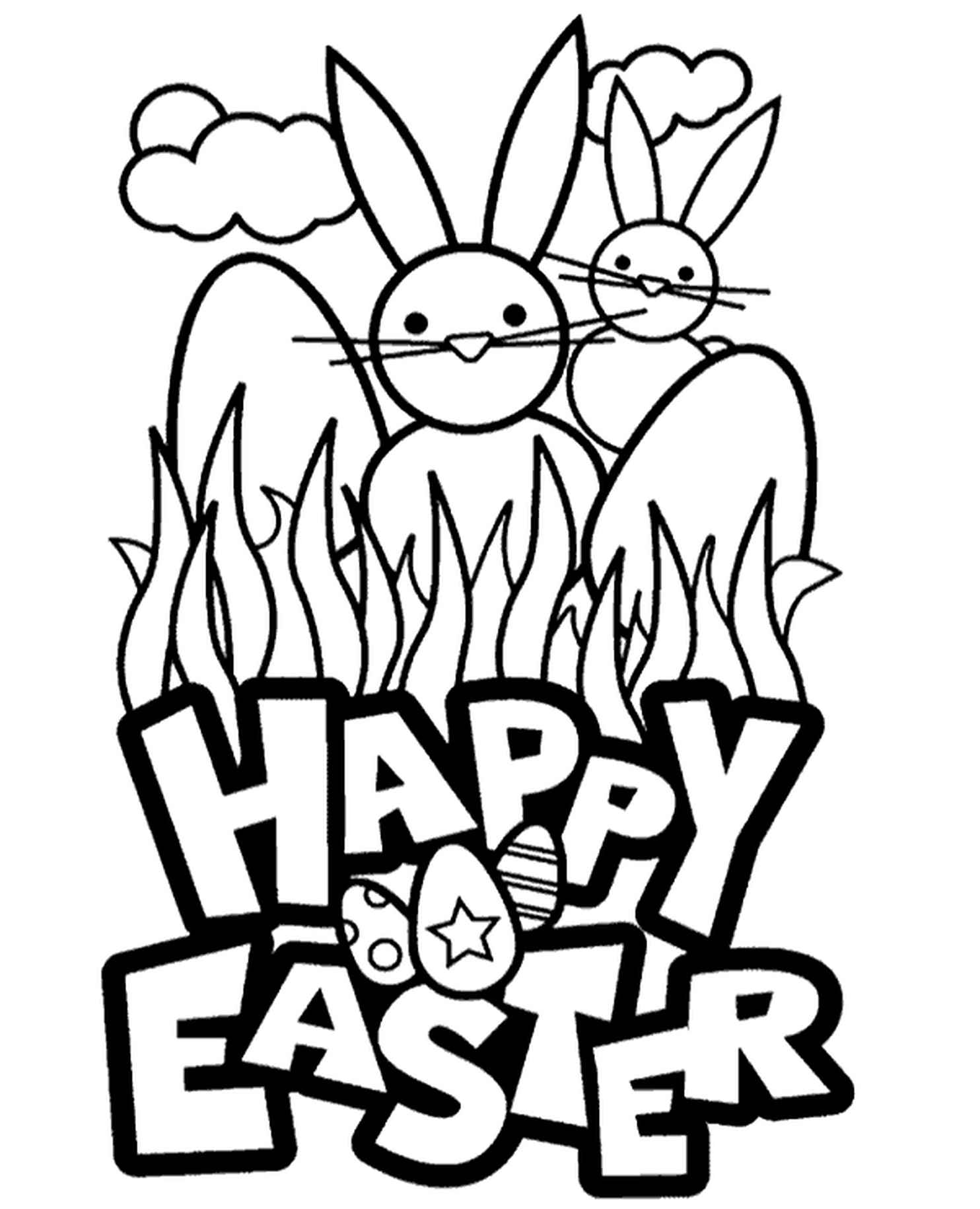 Funny Happy Easter Coloring Page