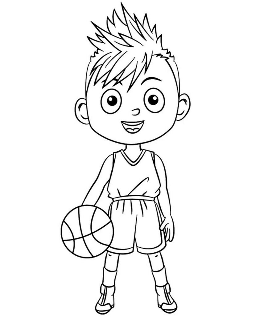 Funny Kid With A Ball Coloring Page