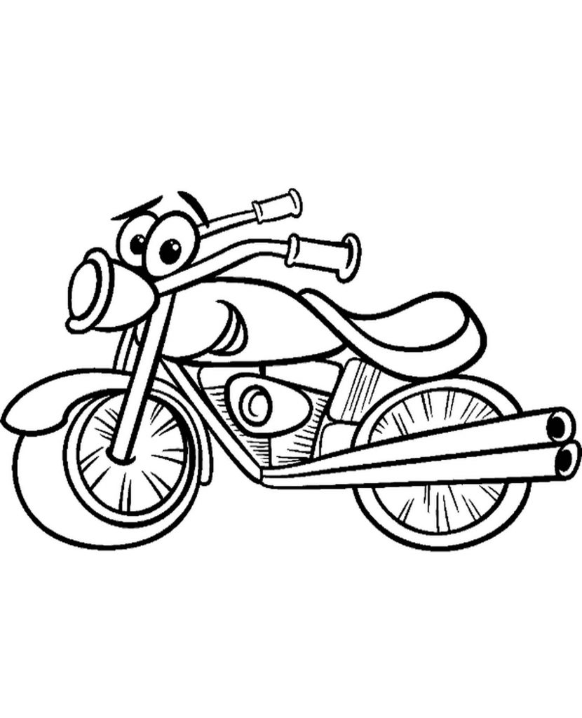 Funny Motorbike Coloring Page For Kids