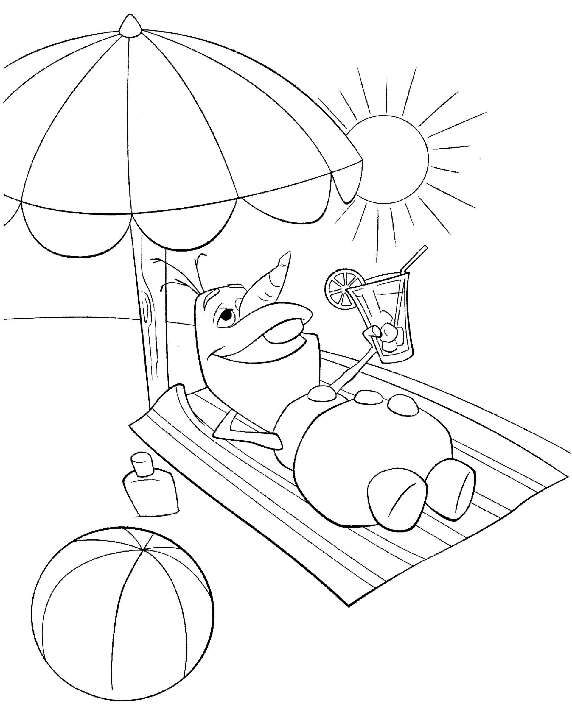 Funny Olaf Laying In The Sun Coloring Page
