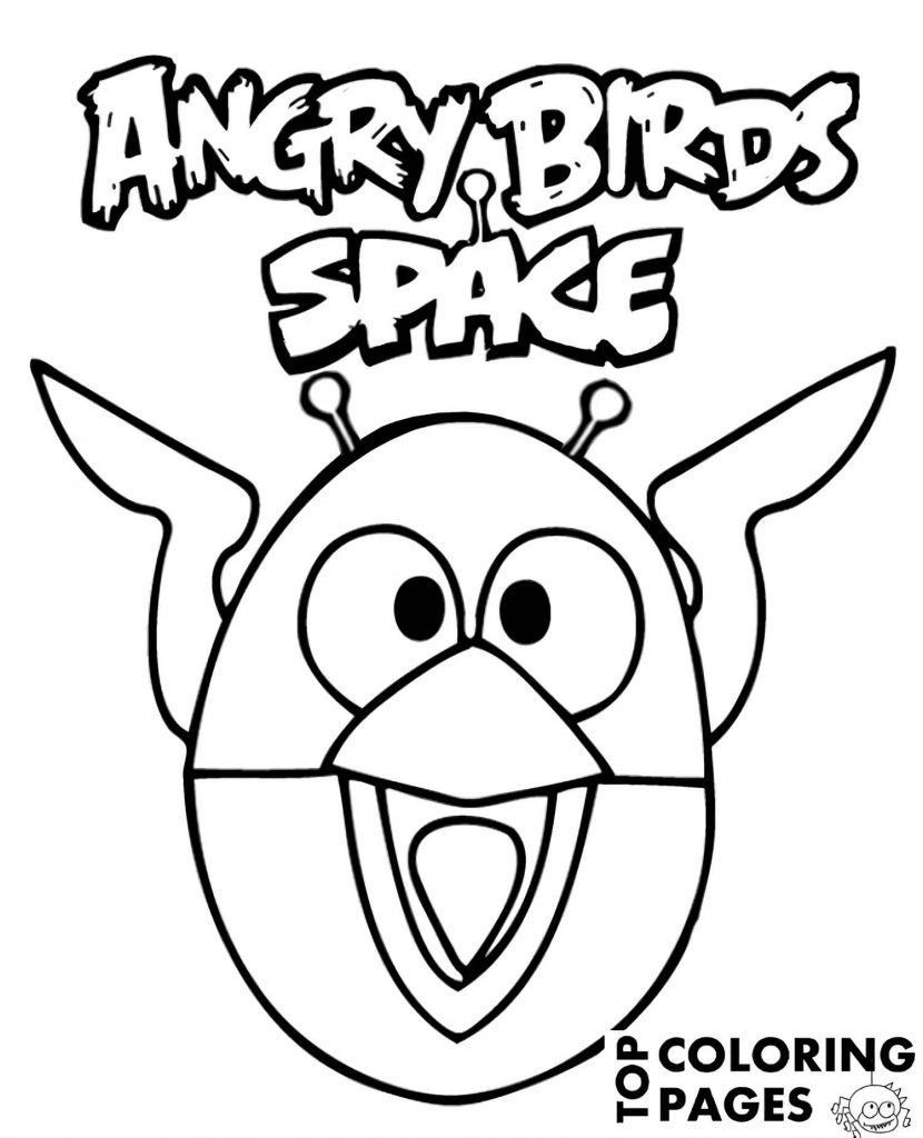 Funny The Blues From Angry Birds In A Space Suit Coloring Page