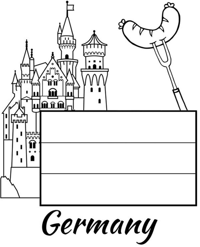 Germany Flag, Castle And Bavarian Sausage Coloring Sheets