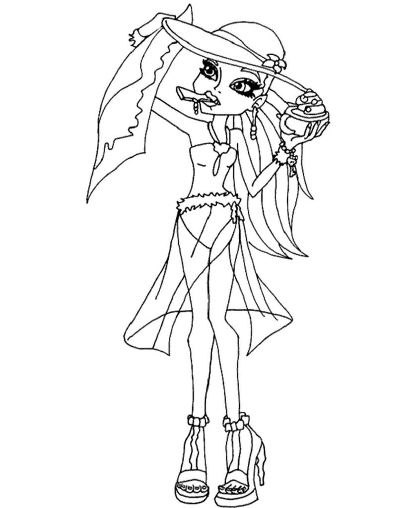 Ghoulia Yelps From Monster High On The Beach Coloring Pages