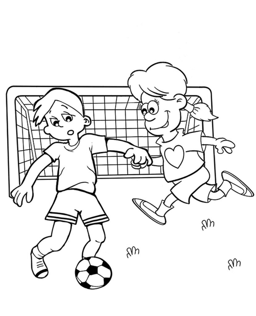 Girl And Boy Goalkeepers Coloring Page