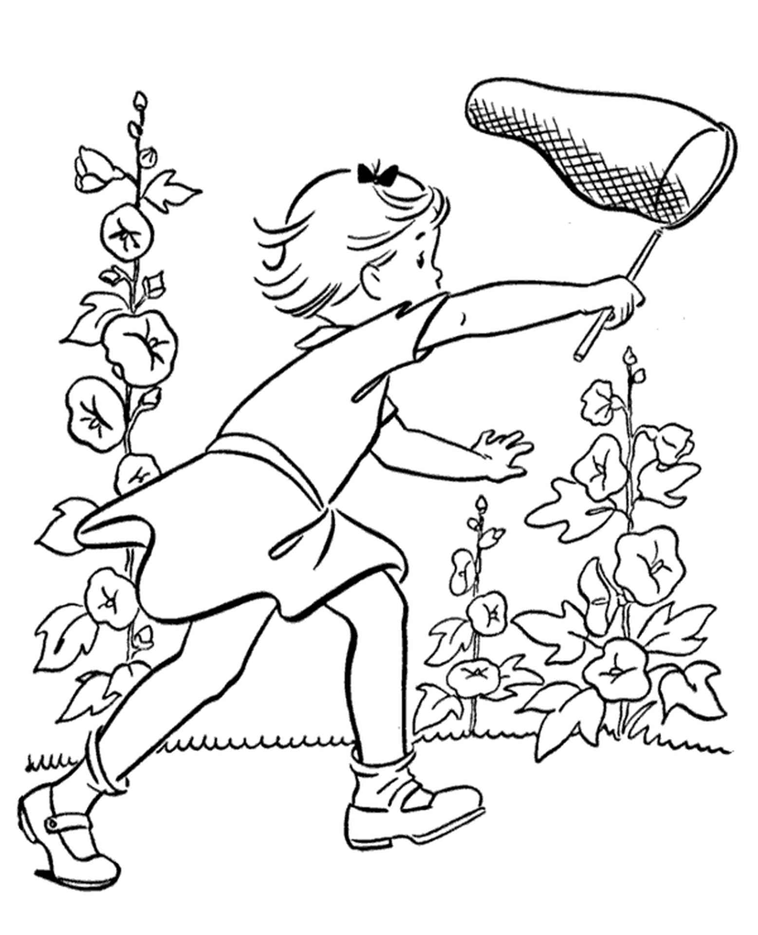 Girl Chasing Butterflies To Color
