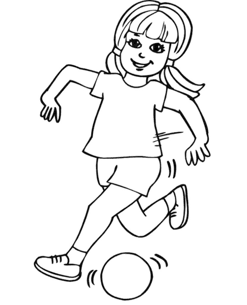 Girl Happily Plays Football Coloring Page
