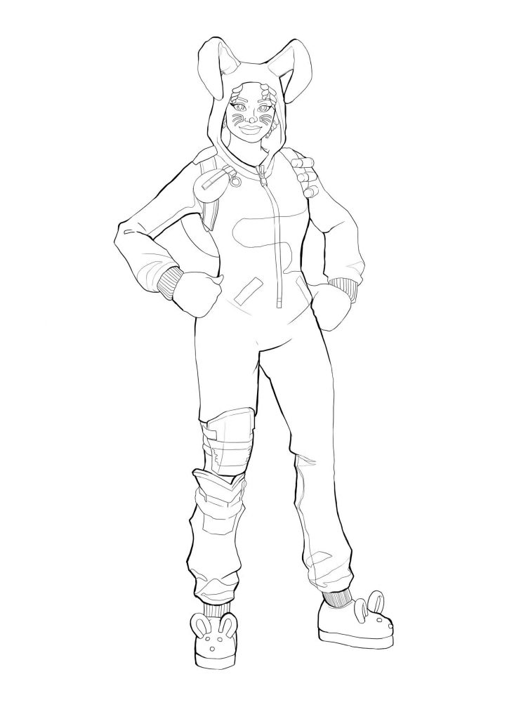Girl In A Bunny Costume From The Game Fortnite Coloring Sheet