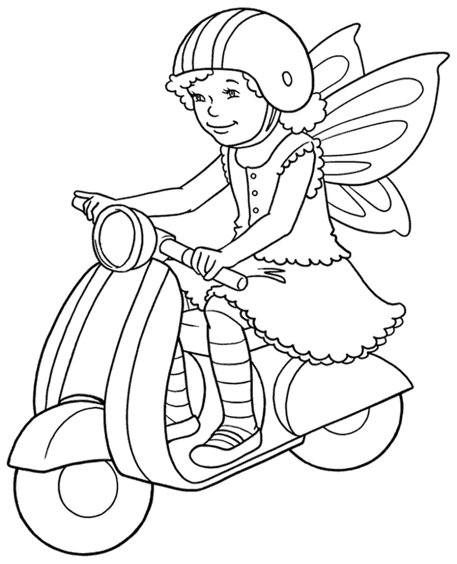 Girl On A Scooter Coloring Page