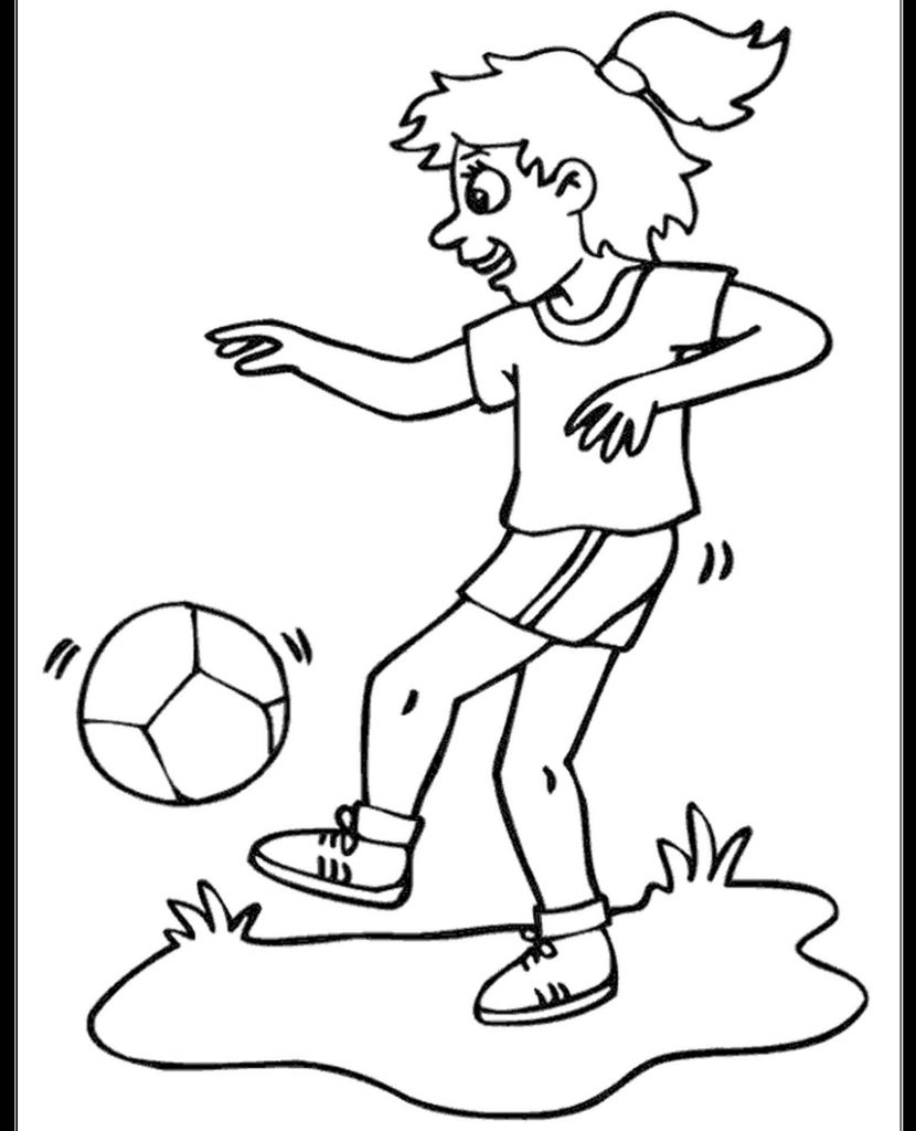 Girl Playing Football Coloring Page