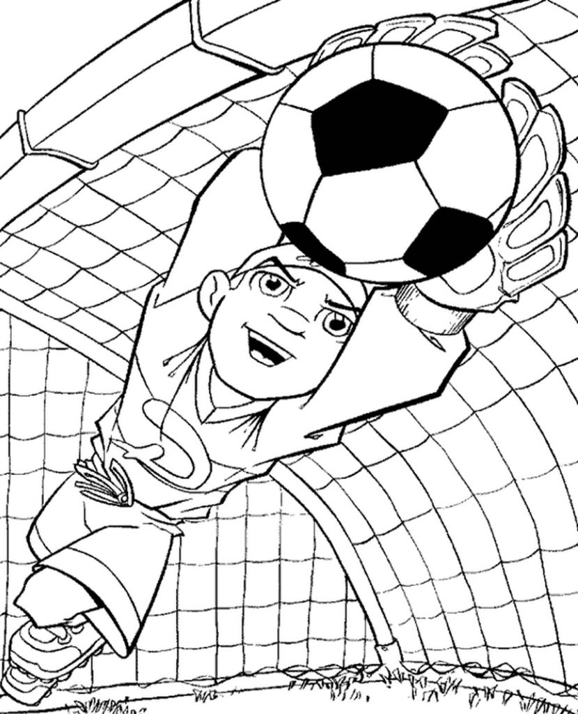 Goalkeeper Catches The Ball Coloring Page