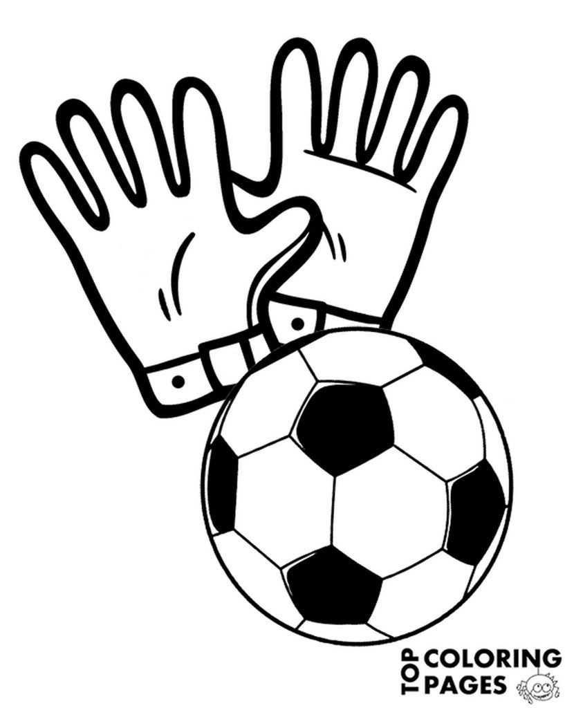 Goalkeeper Gloves And Soccer Ball Coloring Page
