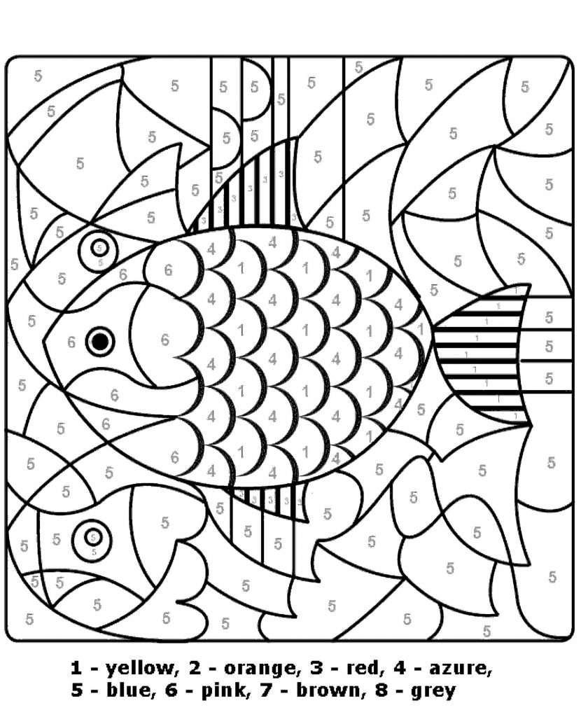 Gold Fish Color By Number Coloring Page