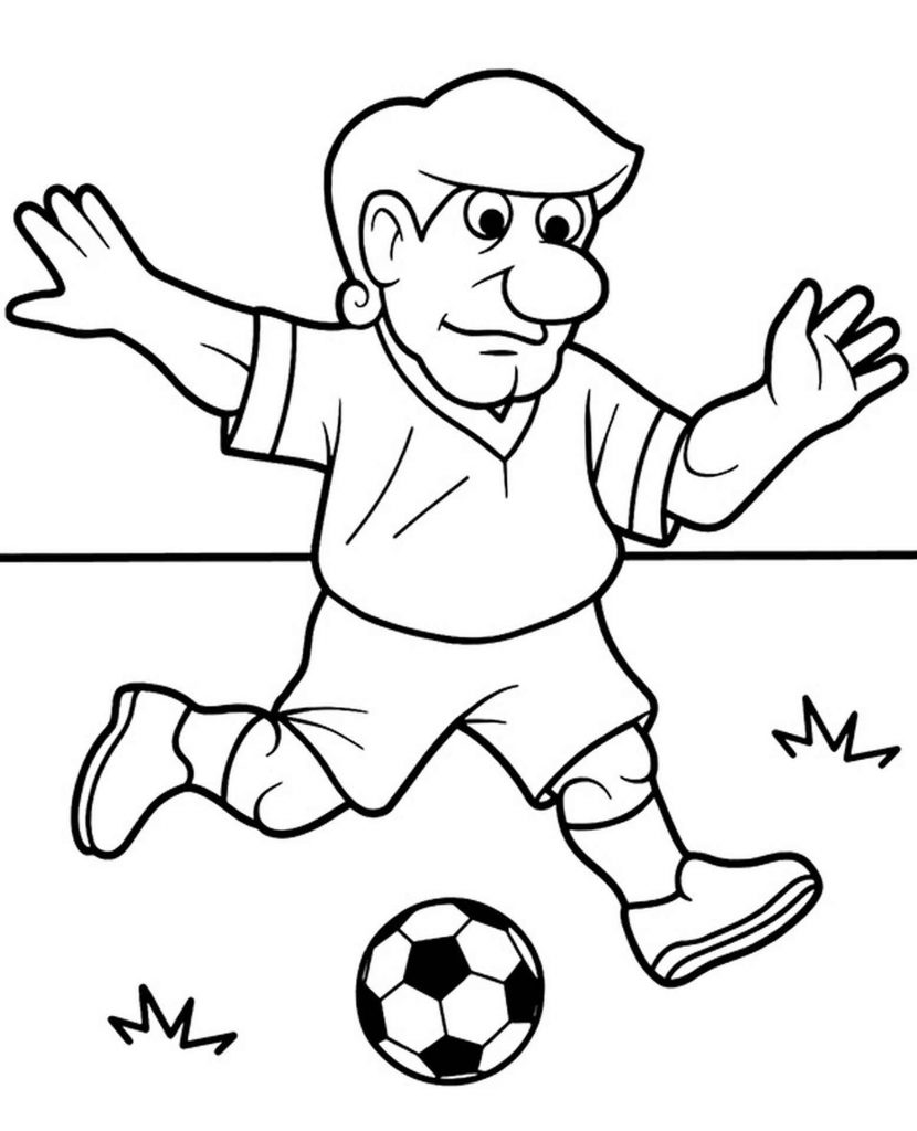 Grandfather Plays Football Coloring Page