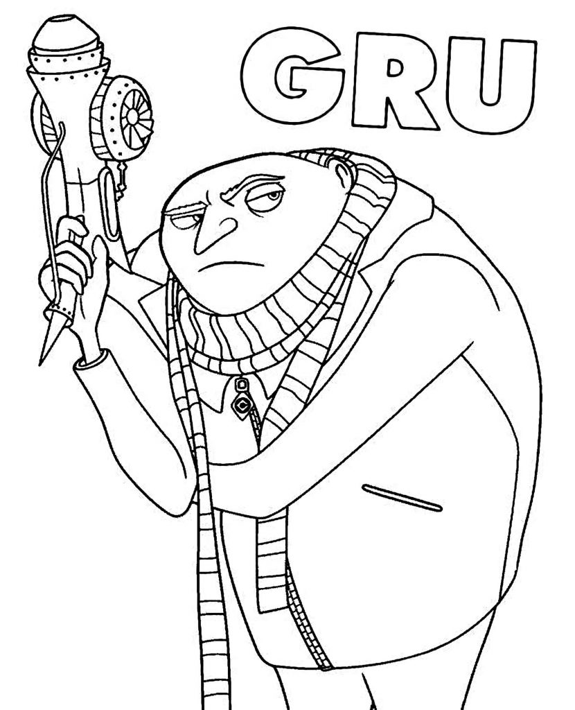 Gru With Gun And Name Coloring Page
