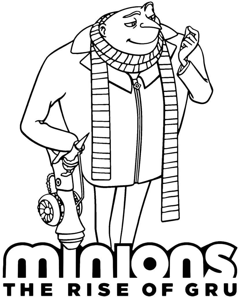 Gru With Weapon And Logo Coloring Page