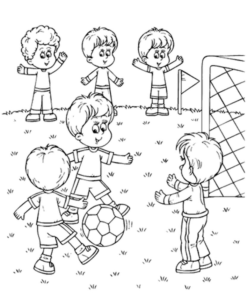 Guys Play Football Coloring Page