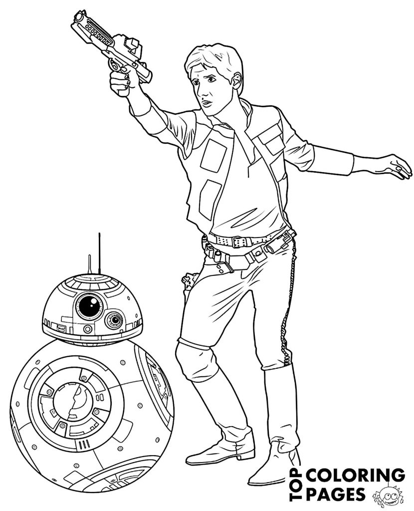 Han Solo Shoots And Bb8 In Star Wars Coloring Page