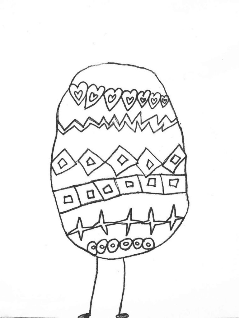 Hand-Drawn Easter Egg Coloring Sheet