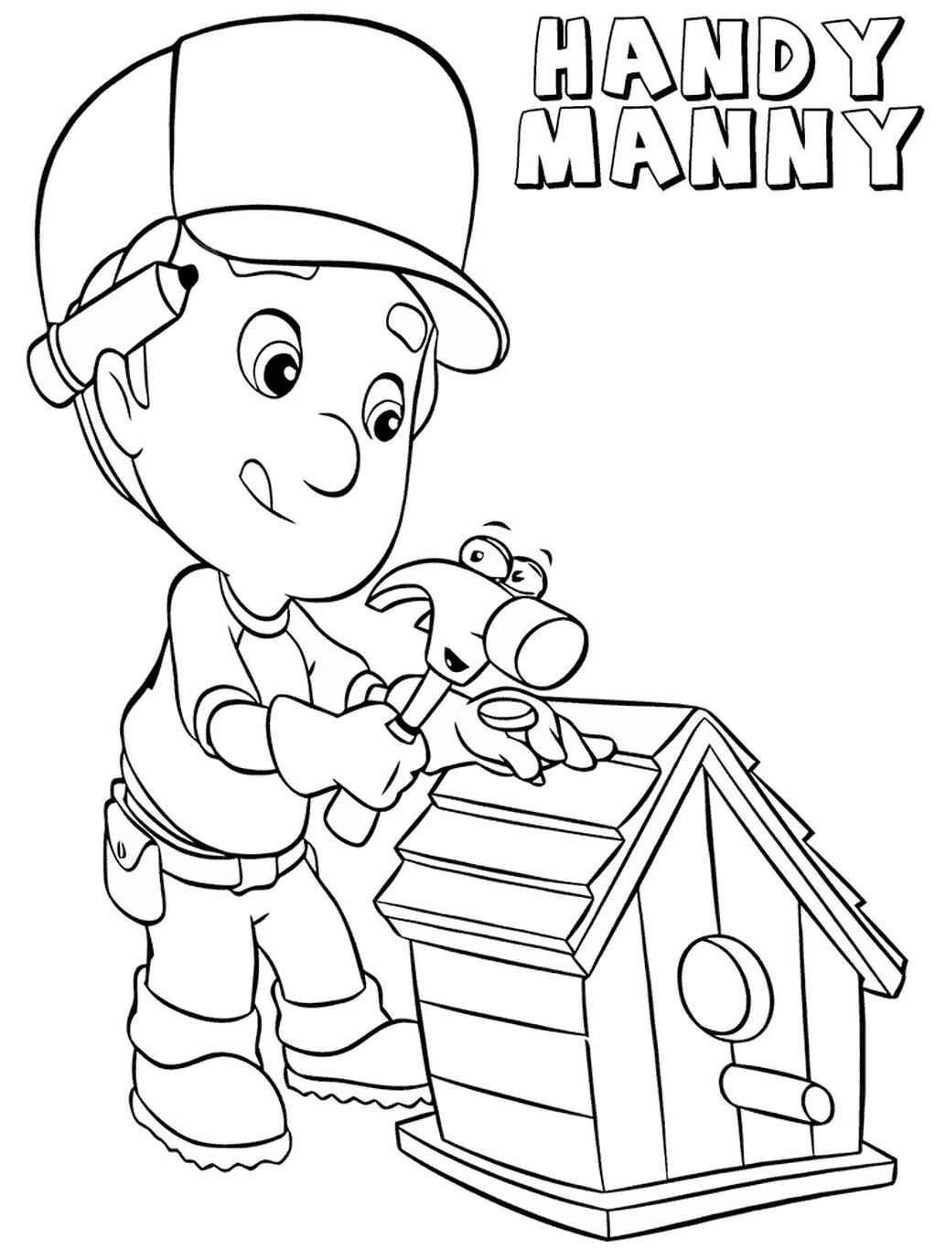 Handy Manny Fixes Birdhouse Coloring Page