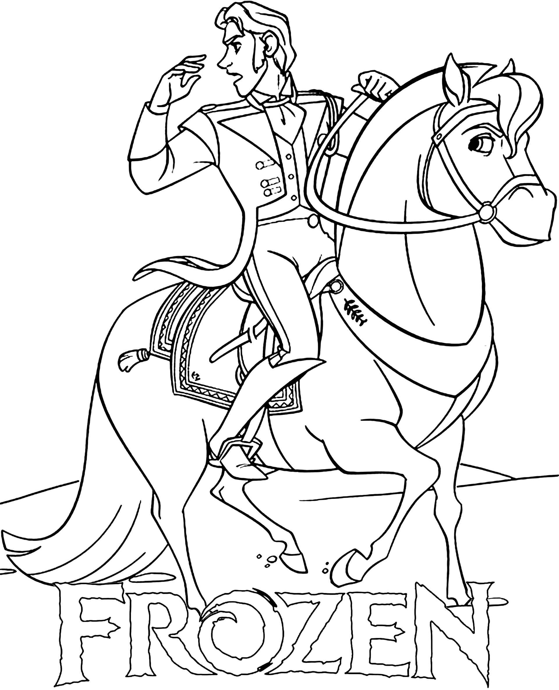 Hans On A Horse Coloring Page