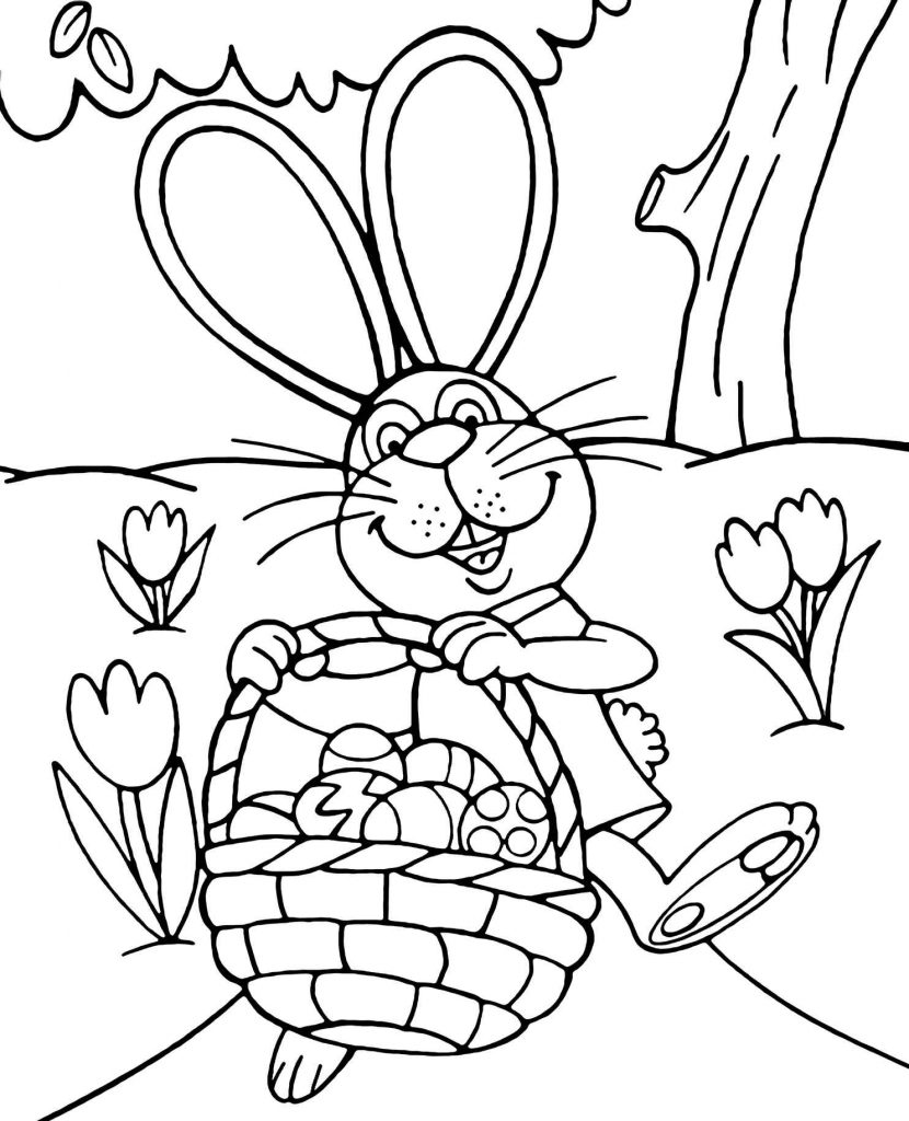 Happy And Smiling Easter Bunny With A Basket Of Eggs