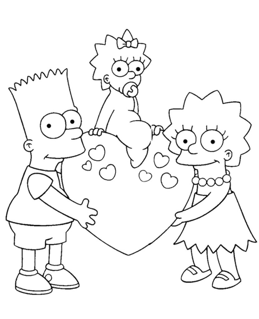 Happy Bart, Lisa And Their Sister From Simpsons With A Heart Coloring Page