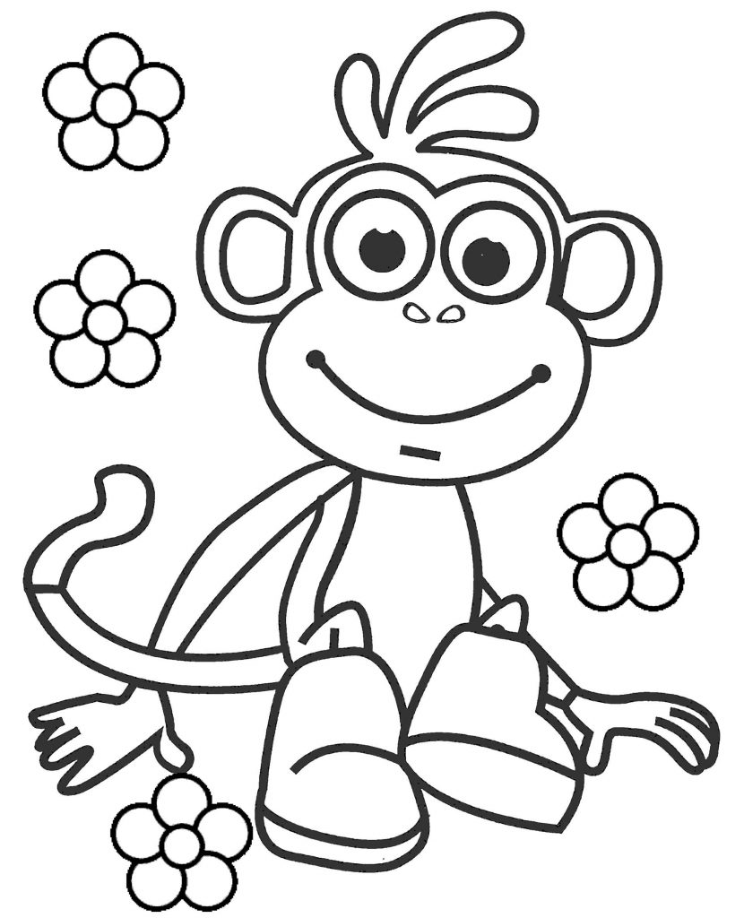 Happy Boots And Flowers Coloring Page