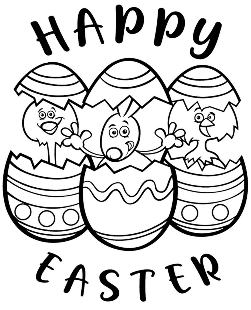 Happy Easter Animals Coloring Page