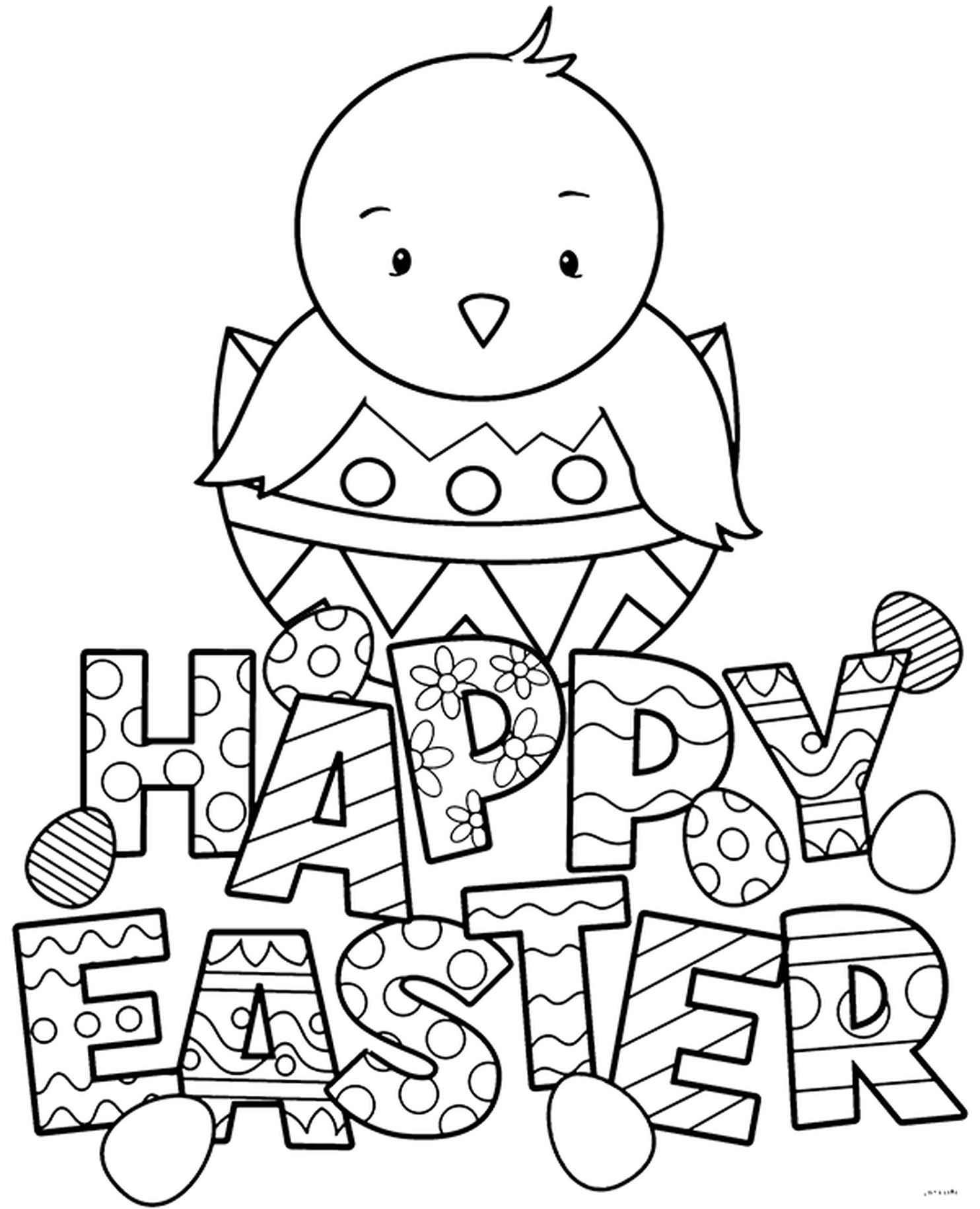 Happy Easter Chicken Coloring Page