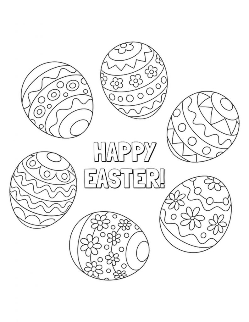 Happy Easter Eggs Coloring Pages
