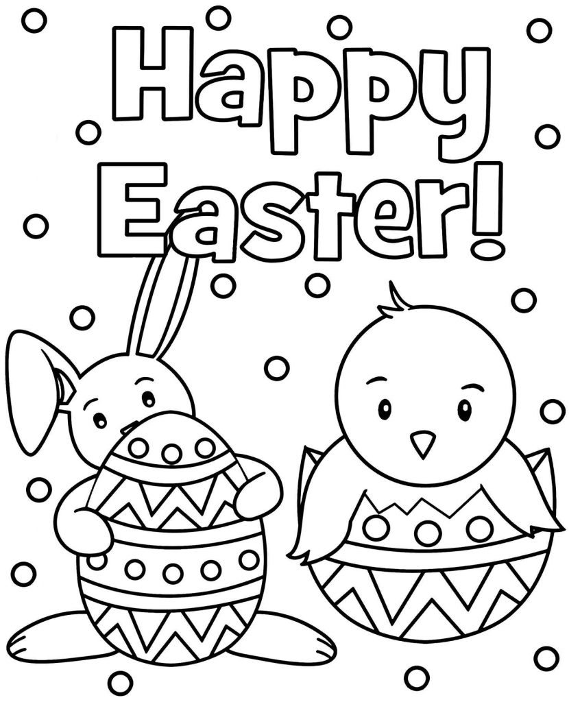 Happy Easter From Easter Characters Coloring Page