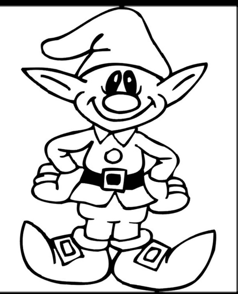 Happy Elf Coloring Page