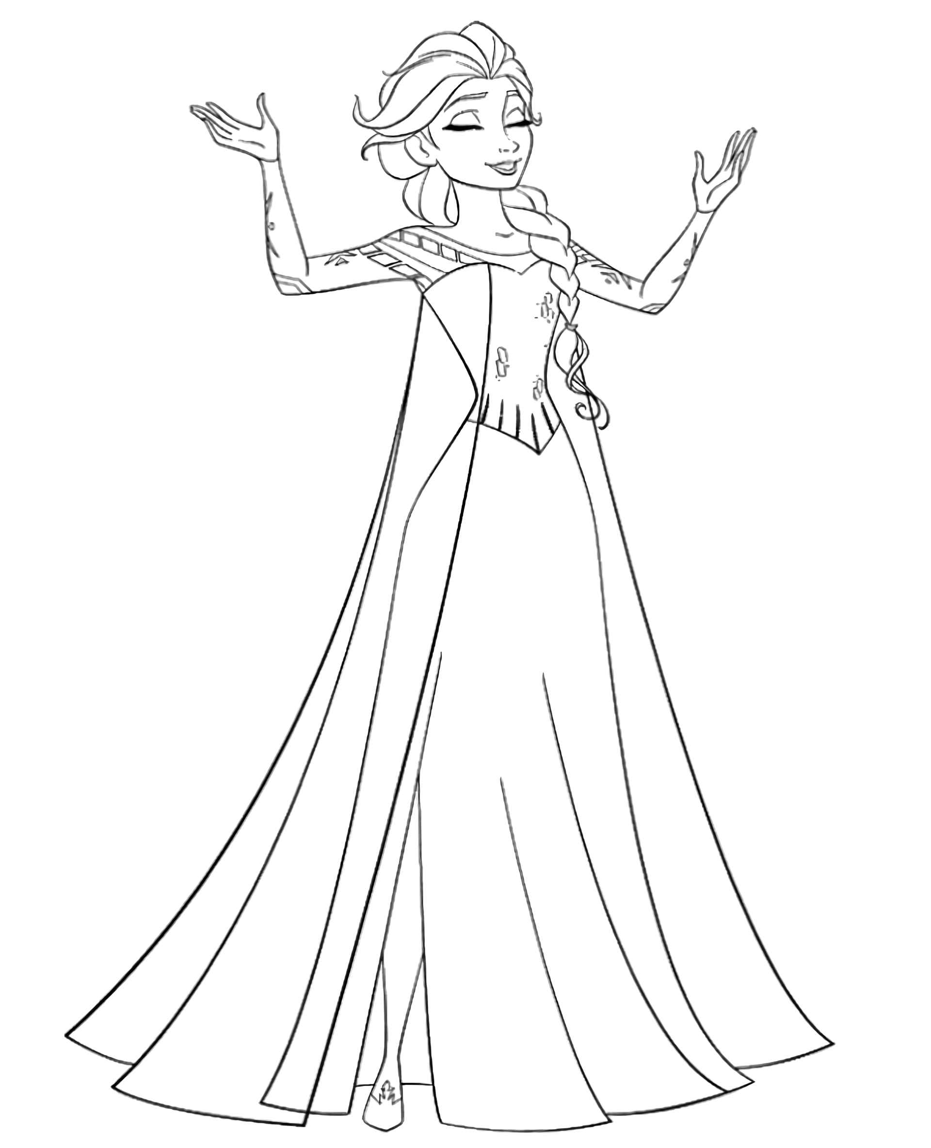 Happy Elsa Coloring Page
