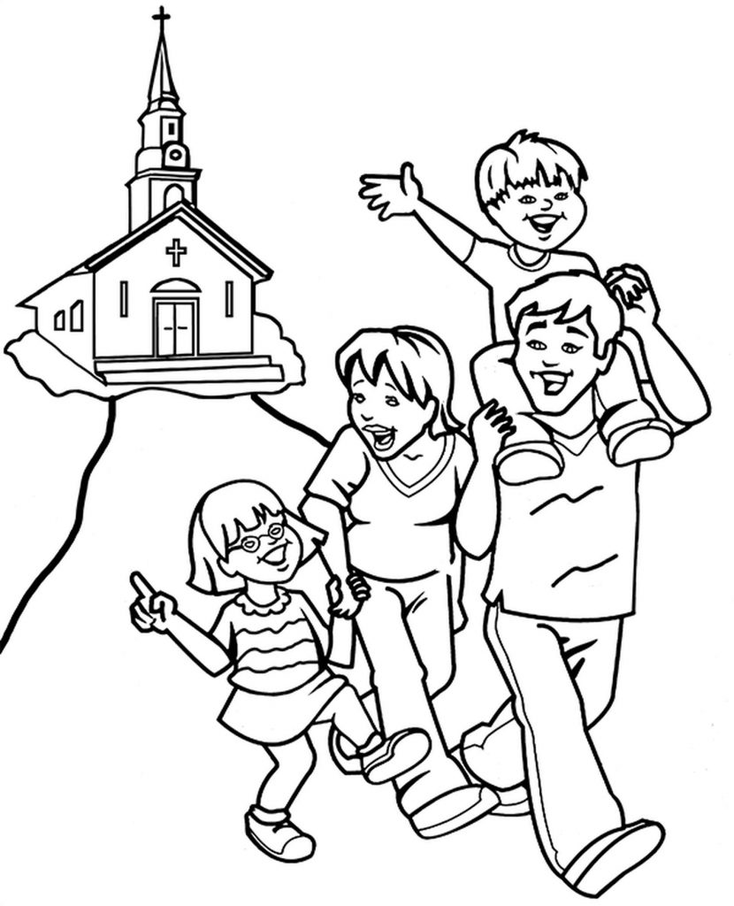 Happy Family Going Home From Church Coloring Page