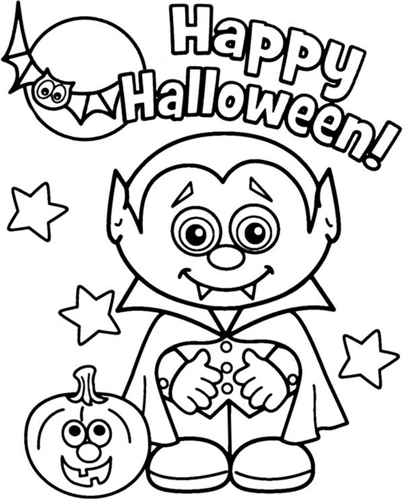 Happy Halloween Card To Color