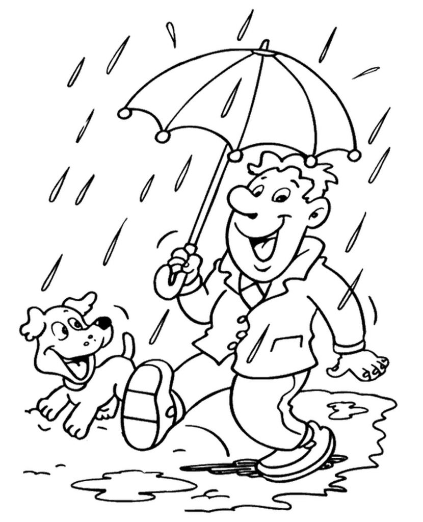 Happy Man Walking With A Dog On A Rainy Day