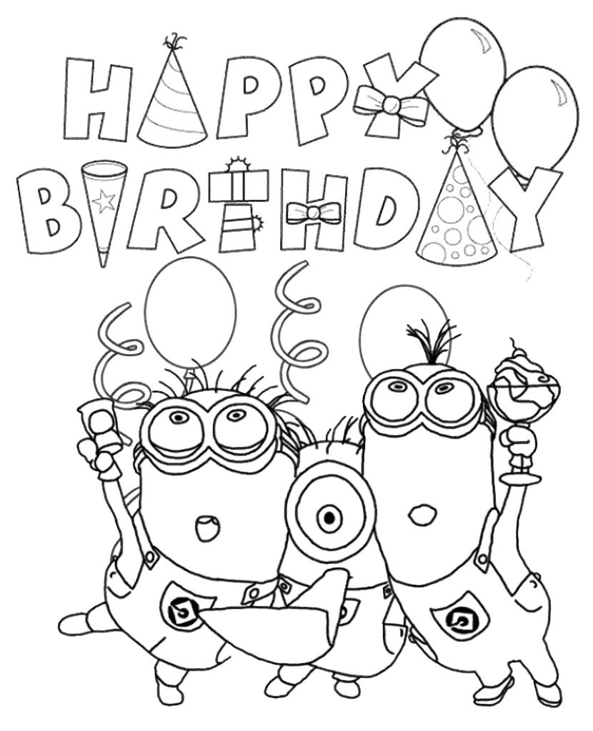 Happy Minions Celebrate Birthday Coloring Page