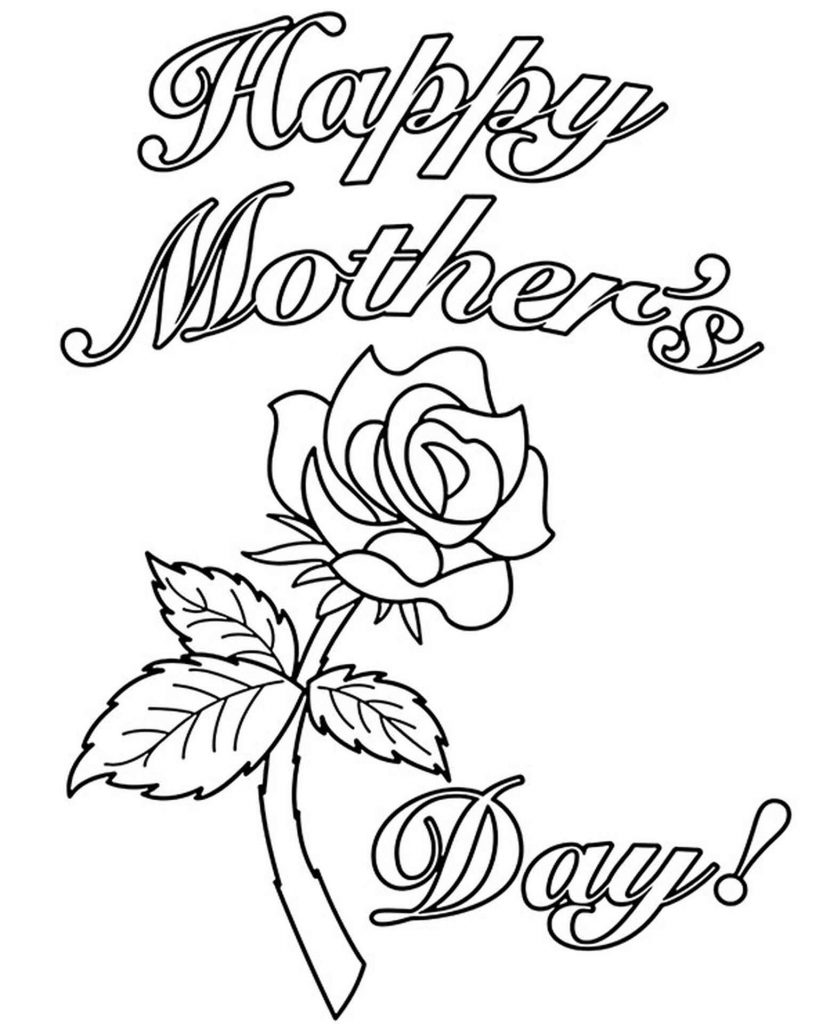 Happy Mother's Day Rose Coloring Page
