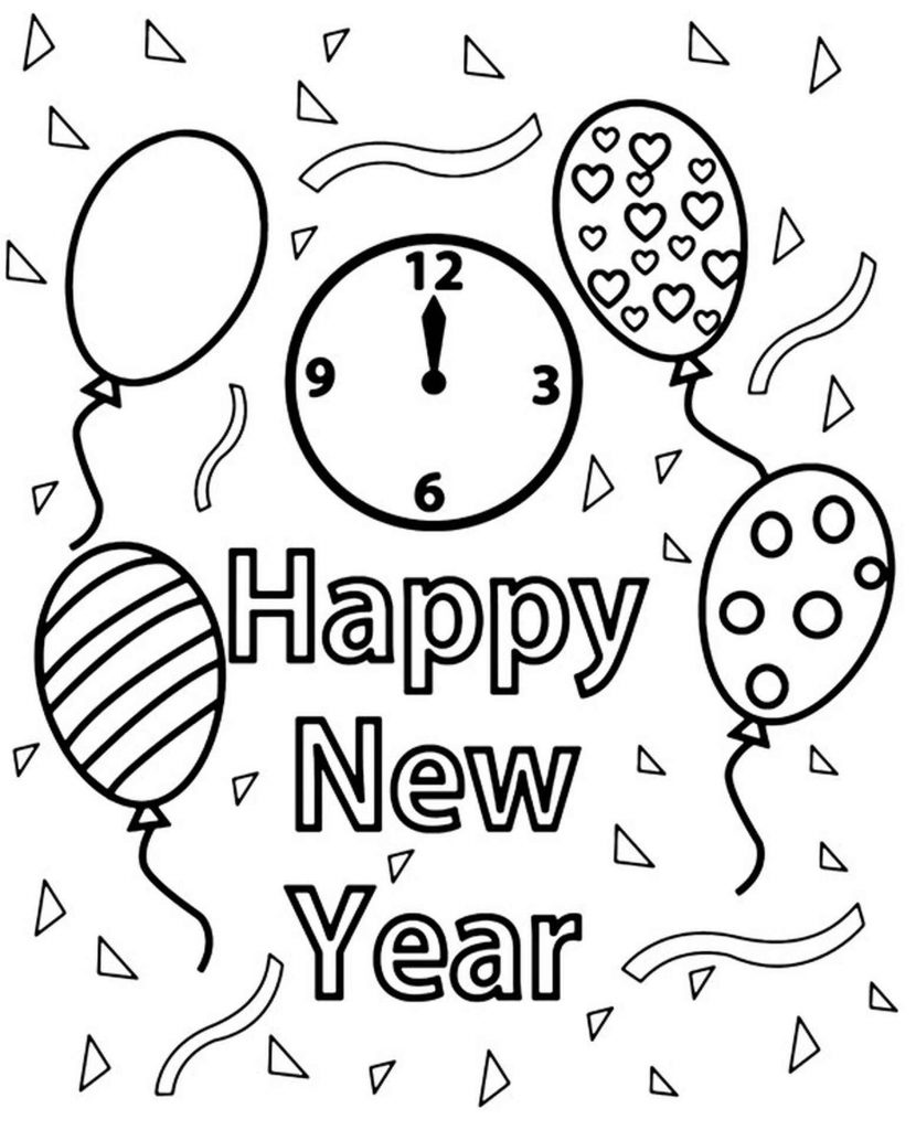 Happy New Year Card To Color