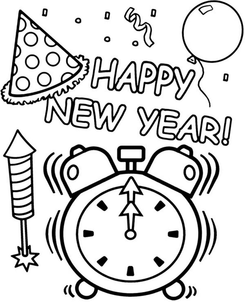 Happy New Year Coloring Sheet
