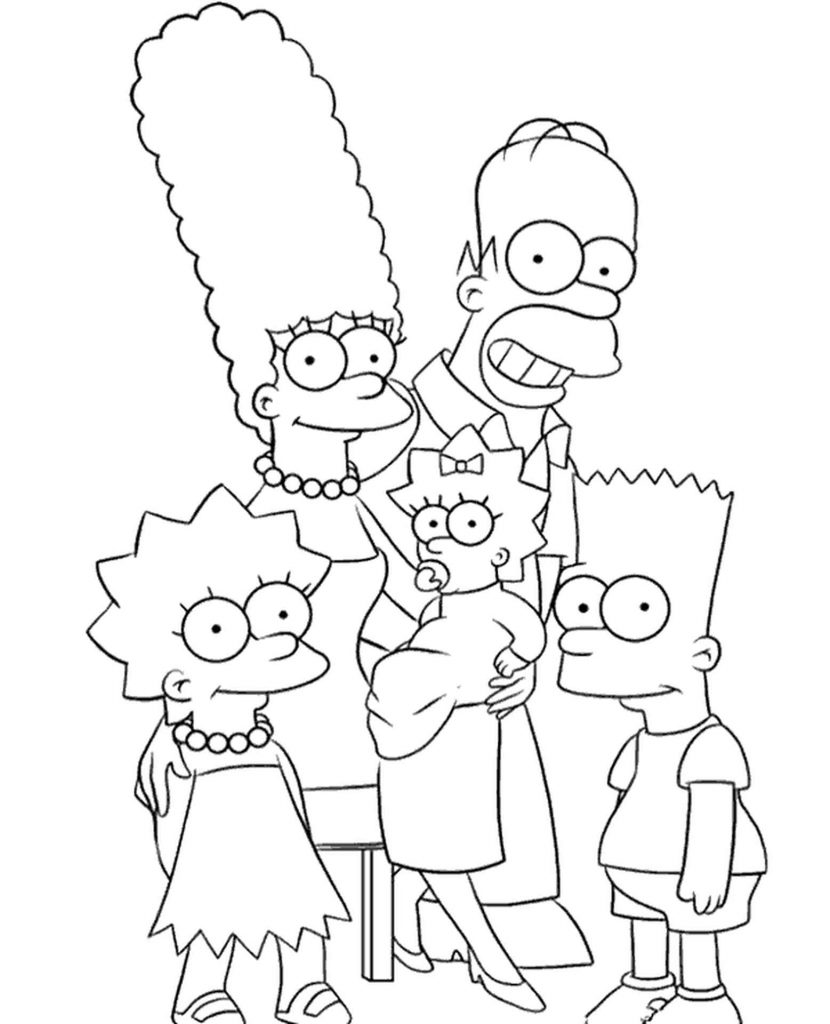 Happy Simpsons Family Coloring Page