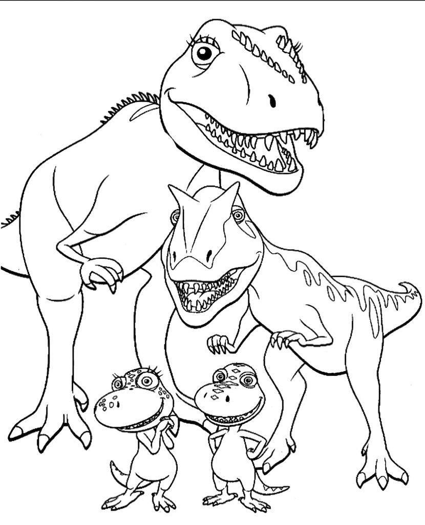 Happy T-Rex Family Coloring Page