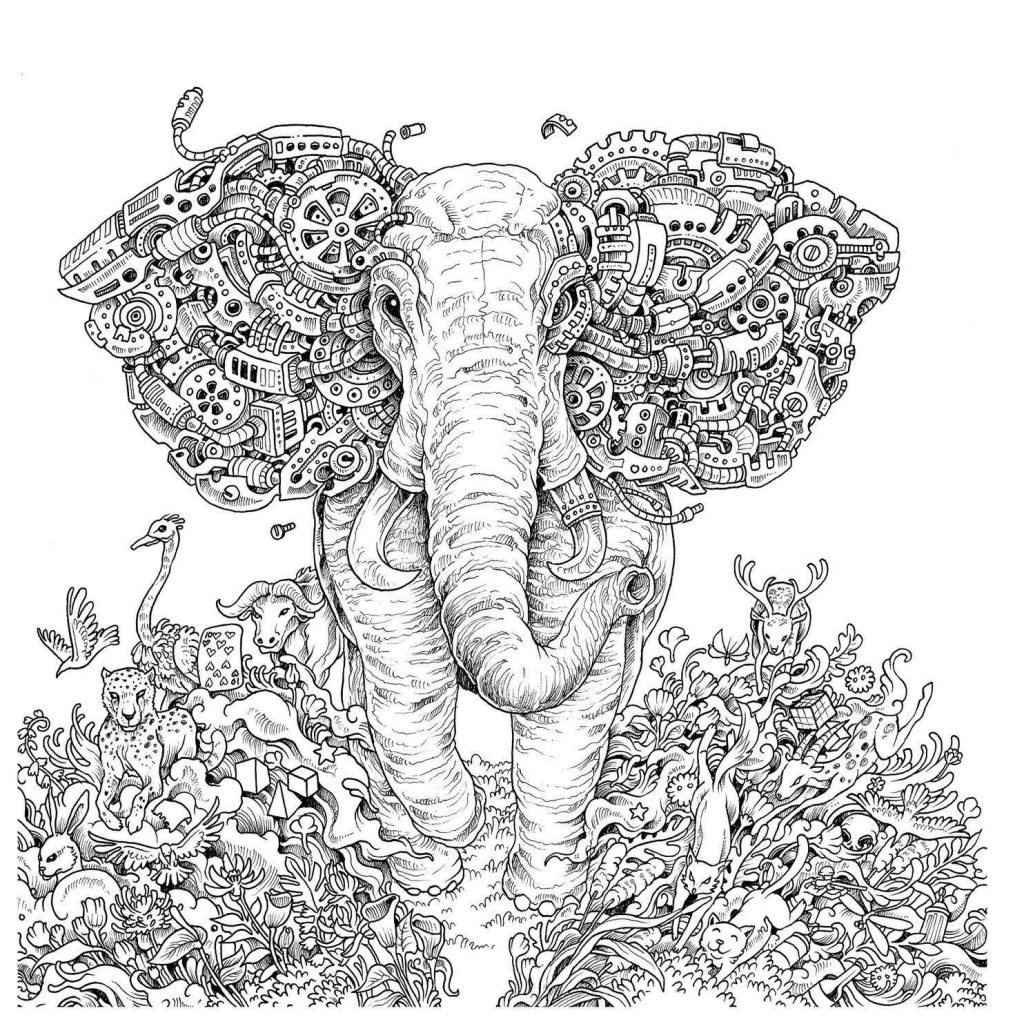 Hard To Color Elephant Adult Coloring Page