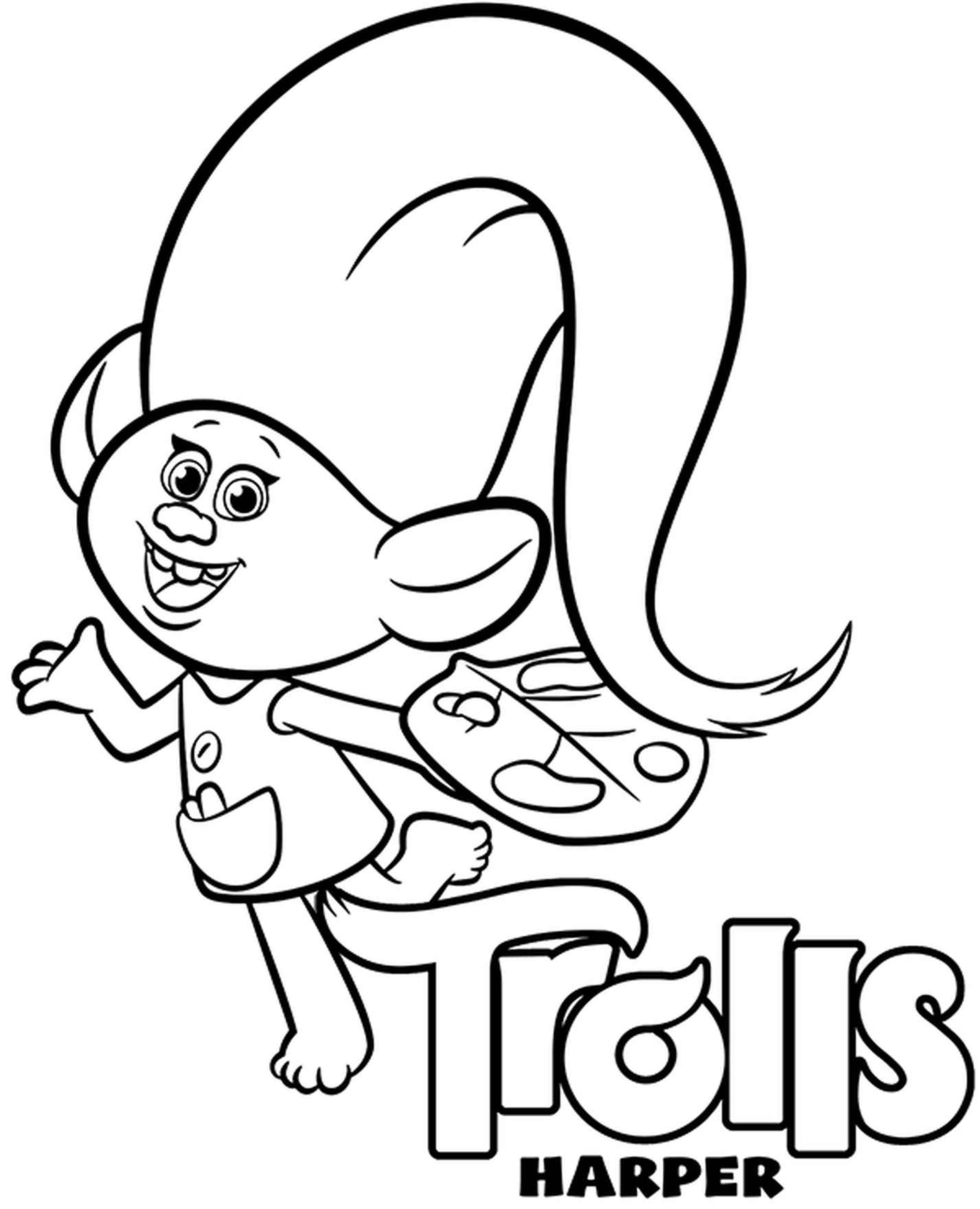 Harper Coloring Page Trolls
