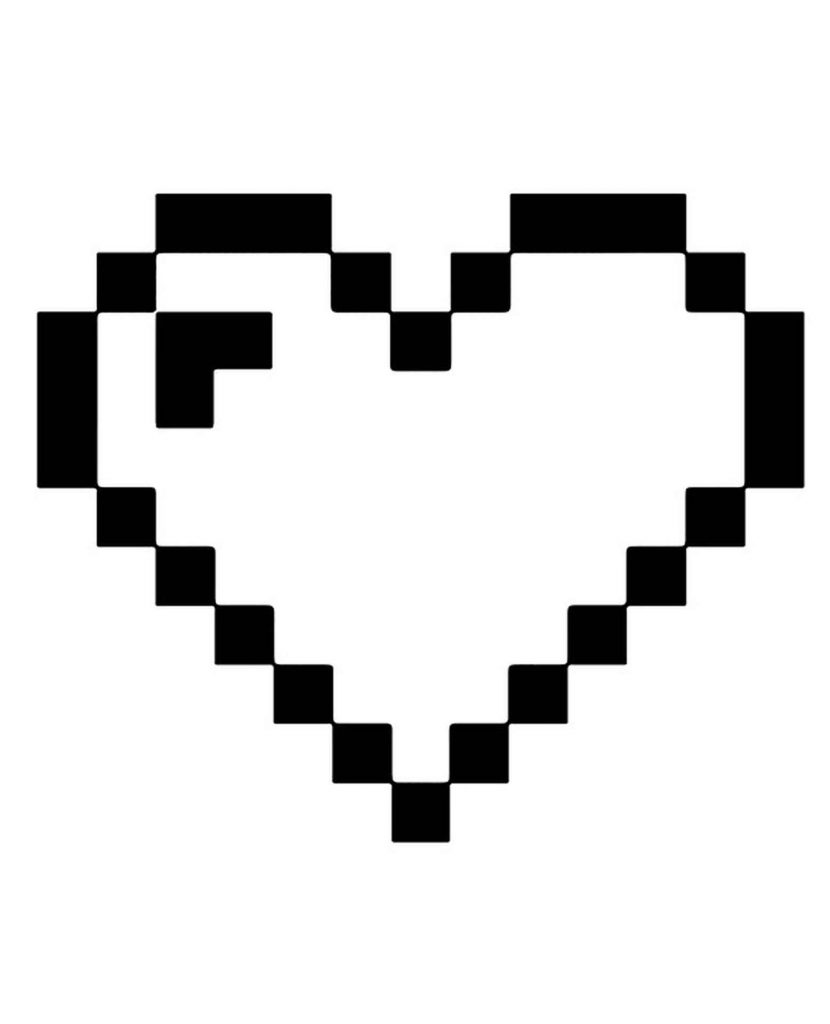 Heart Minecraft Coloring Page