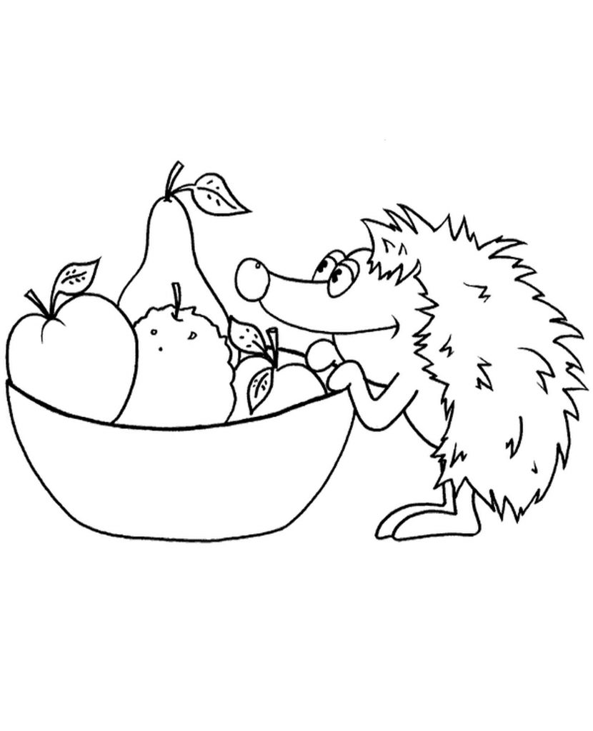 Hedgehog Looking For Some Fruits Coloring Page
