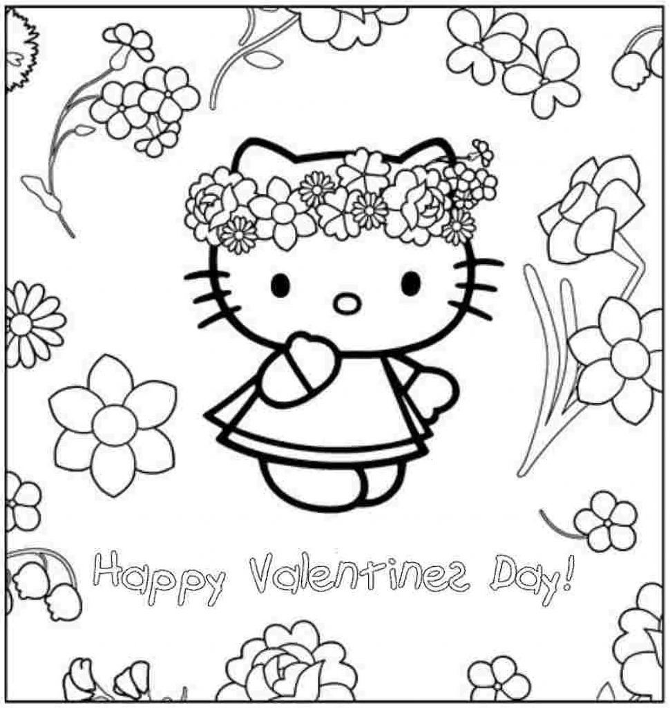 Hello Kitty In A Flower Wreath With Congratulations On Valentine's Day