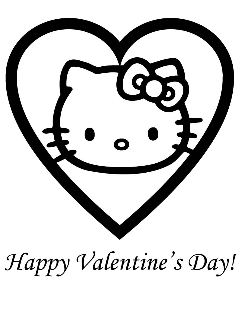 Hello Kitty In The Center Of The Valentine Card With A Wish